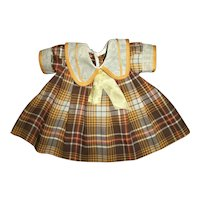 """1930s Ideal Shirley Temple Plaid School Girl Dress For 18"""" Composition Doll"""