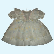 """Vintage Factory Organdy 19""""-20""""Baby Doll Dress With Pastel Embroidered Eyelet"""