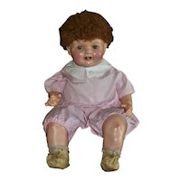 Big Happy Sassy Red Head 1930s Compo/Cloth Baby Doll Wearing Tagged Effanbee Romper