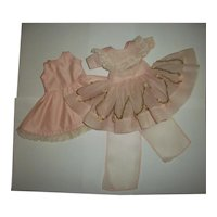"""Pretty Pink Organdy Party Dress With Silk Rose Trim & Full Slip For 14"""" Composition or HP Girls"""