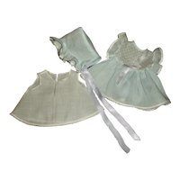 American Character Tiny Tears Rare Blue Dimity Dress & Bonnet Set With Slip