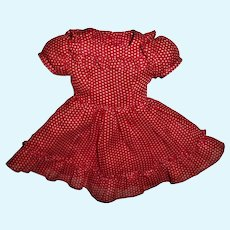 """Pretty Vintage Red Dotted Ruffled Dress For 14"""" Slim HP or Composition Girls"""