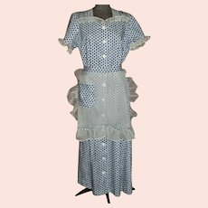 Vintage Late 1930s Housedress With Matching Apron Day Dress or Uniform