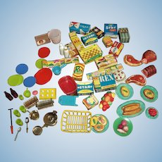 Large Lot of Deluxe Reading Barbie Dream Kitchen Food And Accessories