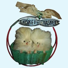 2 Fur Pomeranian Dogs Tisket And Tasket In Basket