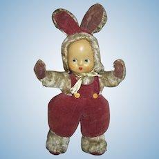 Adorable Cloth Mohair Velvet Bunny Dressed Doll