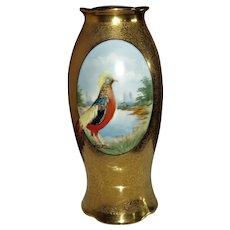 1920s Porcelain Painted Golden Pheasant Rivir Studio Chicago Vase Artist Signed