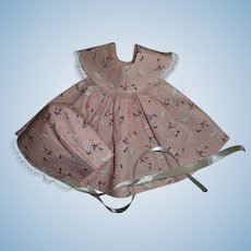 Cute Factory Cotton Print Baby Doll Dress and Bonnet
