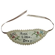 """Sweetest Embroidered """"Stop Little Drop"""" Rain Bonnet Hat For Smaller Bisque Doll"""