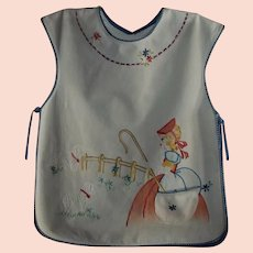 Adorable Well Made Child's Embroidered Little Bo Peep Smock Apron
