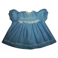 Minty Vintage Factory Blue Cotton Dress For Dy-Dee Baby
