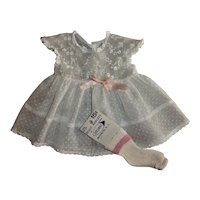RARE American Character Tiny Tears Pastel Embroidered Eyelet and White Dotted Swiss Dress
