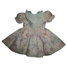 Vintage Factory Pink Flowered Dress With Ribbed Organdy Collar For Composition Girls