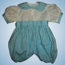 Factory Gingham Romper For Large Baby Doll or Toddler Doll