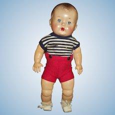 "Cute 12"" Boy Hard Plastic Head With Rare Undamaged Stuffed Latex Body/Limbs"
