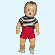 "Cute 13"" Boy Hard Plastic Head With Rare Undamaged Stuffed Latex Body/Limbs"