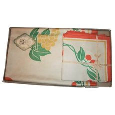 Made In Czechoslovakia 1920s Arts & Crafts Silk Screened Fruit Design Tablecloth & Napkin Set Unused In Box