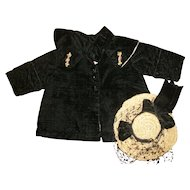 Lovely Black Velvet Coat With Ribbon Flower Trim~Shawl Collar & Hat For Bisque Dolls