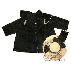 Lovely Black Velvet Coat With Ribbon Flower Trim~Shawl Collar & Hat For Bisque Dolls