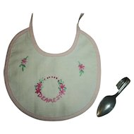 "Factory ""Dearest"" Dolly Bib and Effanbee Dy-Dee Doll Spoon"