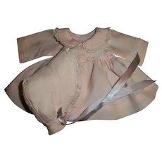 Smaller Effanbee Silk Taffeta Coat and Bonnet Set