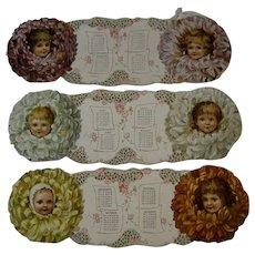 Die Cut 1895 Calendar With Little Girls
