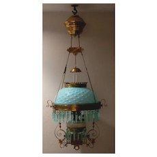 Parker Aqua Opalescent Victorian Hanging Oil Lamp