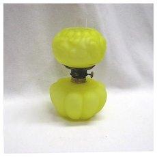 Yellow Satin Melon Rib and Pansy Mini Lamp