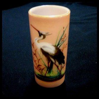Sandwich Glass Painted Heron Vase