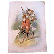 Huge Santa On Bicycle Print 1894