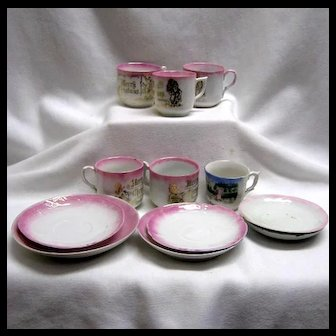 Lot Child's Merry Christmas Cups & Saucers