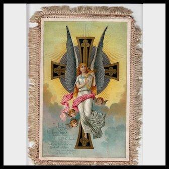 Huge 1884  Angel Christmas Card With Fringe