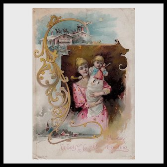 Mother, Child, Santa Claus, Lion Coffee Christmas Trade Card