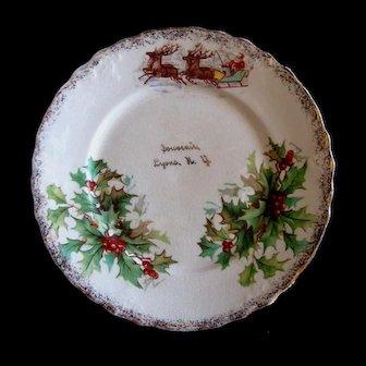 Santa Claus and Reindeer Christmas Plate - Lyons, New York