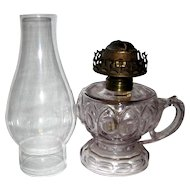 Old Pattern Glass Footed Finger Oil Lamp