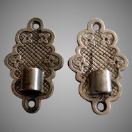 Pair Nickle Plated Bracket Oil Lamp Wall Mounts