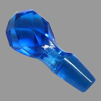 Old Blue Cut Glass Cruet Stopper