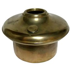 Large Old Brass Font For Oil Lamp