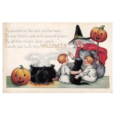 Halloween postcard - Witch Cauldron Black Cat Kids Pumpkins