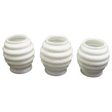 Three White Milk Glass Beehive Mini Oil Lamp Shades - Little Beauty