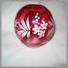 Cranberry Miniature Oil Lamp Ball Shade With Enameled Floral