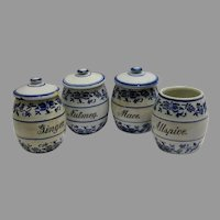 Four Old Blue Onion Style Spice Jars