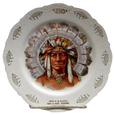 1910 Indian Calendar Plate - Peoria Illinois Advertising