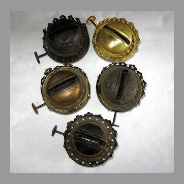 Five Coronet Style Oil Lamp Used Burners