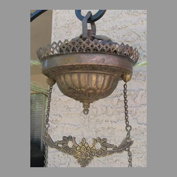 Ceiling Retractor,  Gathering Bar and Chain Separators For Victorian Hanging Oil Lamp