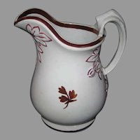 Davenport Fig Cousin Tea Leaf Ironstone Milk Pitcher - Copper and Pink Luster
