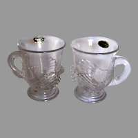 Pair Cambridge Swan Punch Cups With Original Labels