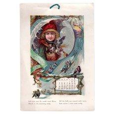 1891 Scarce Twelve Page Colorful Calendar - White & Allen