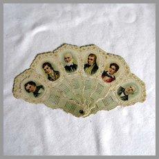 1901 Die Cut Fan Poet's Calendar