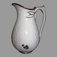 1860s Shaw Lily-of-The-Valley Tea Leaf Ironstone Ewer